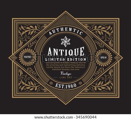 antique frame vintage border western label hand drawn engraving retro vector illustration