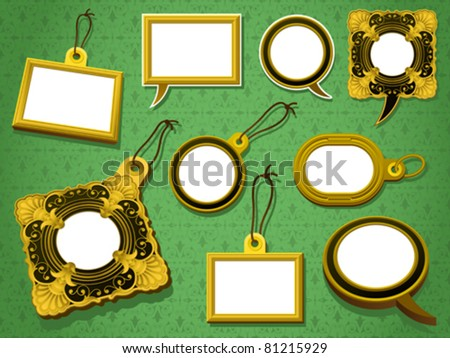 antique gold frames set tag and speech bubbles