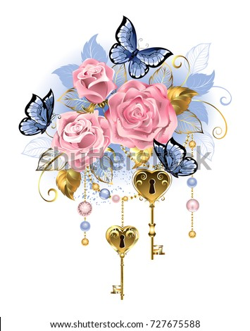 antique golden keys with pink
