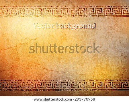 antique golden wall in grunge style with meander.vector illustration
