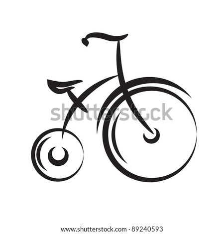 Antique highwheel bike. icon black and white vector illustration