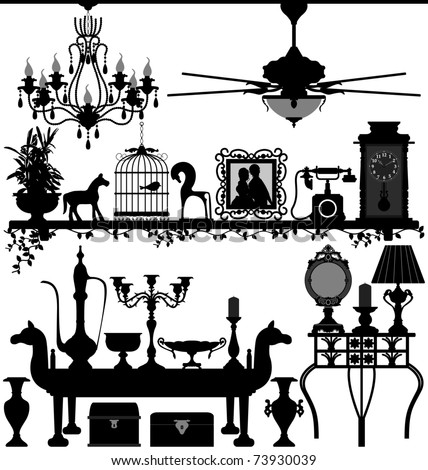 Antique Home Decoration Furniture Interior Design Ancient Old Retro - stock vector
