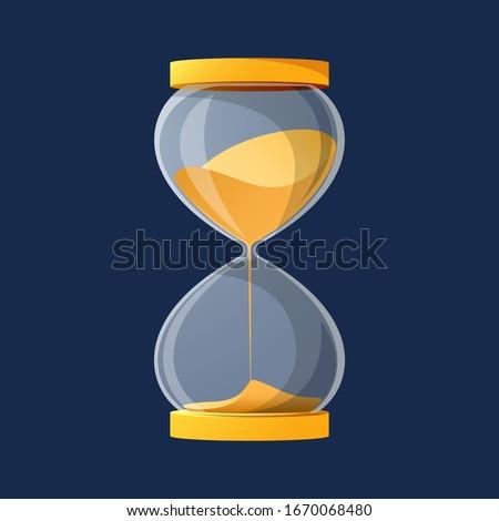 Antique hourglass. Transparent antique hourglass.