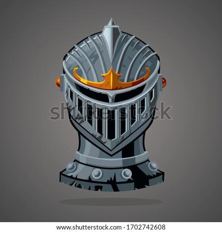 antique knight helmet cartoon