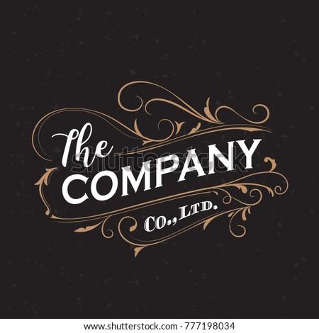 Antique label typography frame vintage design vector illustration