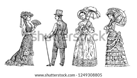 Antique ladie and man. Victorian Dame and gentleman. Ancient Retro Clothing. Woman in Ball lace dress. Vintage engraving style. hand drawn old monochrome sketch. Vector illustration.