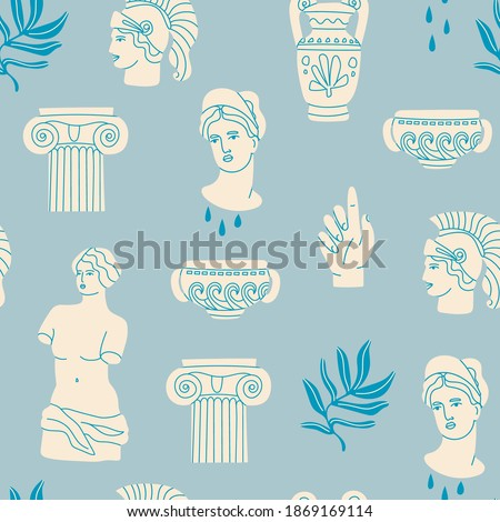 Antique marble statue of woman, column, branch, amphora. Mythical, ancient greek style. Hand drawn trendy Vector illustration. Square Seamless Pattern. Background, wallpaper, poster template Photo stock ©