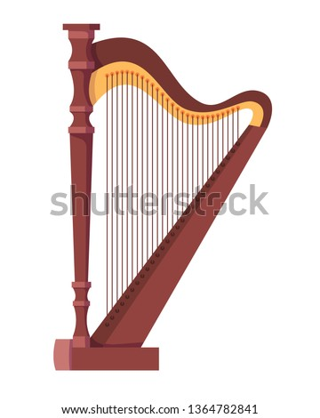 Antique, old stringed musical instrument is a classical wooden harp. Historical musical instrument harp, for festive, concert, festival performances. Vector cartoon illustration isolated.
