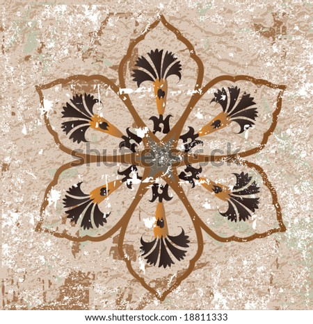 Antique ottoman grungy wallpaper vector tile design