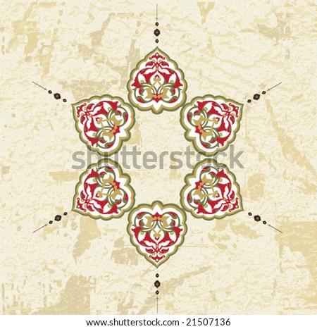 Antique ottoman grungy wallpaper vector tile design