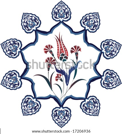 Antique ottoman turkish vector tile design - stock vector