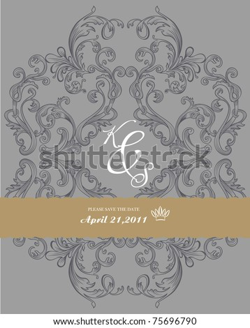 antique paper with ornate elements on dark gray background - very nice for book cover design or invitation card