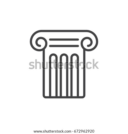 Antique pillar line icon, outline vector sign, linear style pictogram isolated on white. History study symbol, logo illustration. Editable stroke