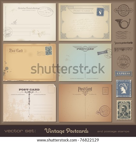 antique postcards - set of 6 vintage postcard designs and postage stamps - stock vector