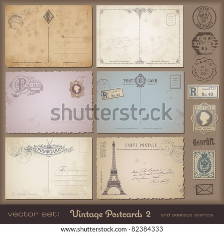 antique postcards 2 - set of 6 vintage postcard designs and postage stamps - stock vector
