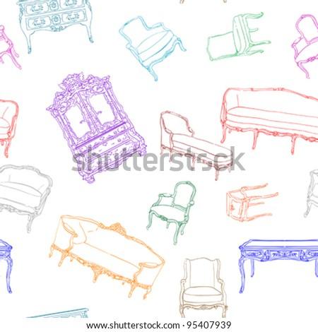 antique rococo furniture pattern over white
