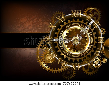 Antique, Steampunk watches with gold and brass gears on brown, rusty background.