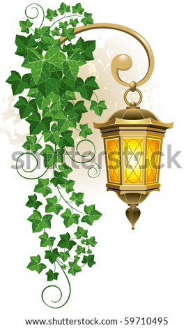 Antique street lantern from the forged metal, covered with ivy - stock vector