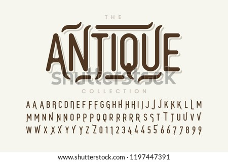 Antique style font design, vintage alphabet letters and numbers vector illustration
