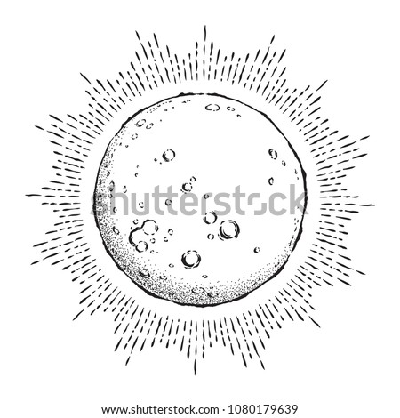 Antique style hand drawn line art and dot work full moon with rays of light. Boho chic tattoo or print design vector illustration