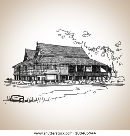 Antique Thailand architecture Lanna style : sketchbook vector