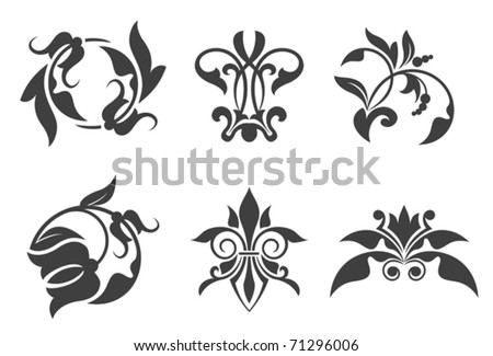 Antique vintage floral patterns isolated on white. Jpeg version also available in gallery
