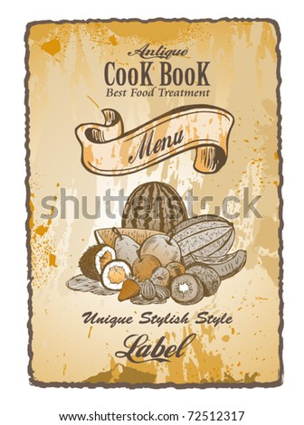 Antique Vintage Label to use like cover  for fruit desserts - stock vector