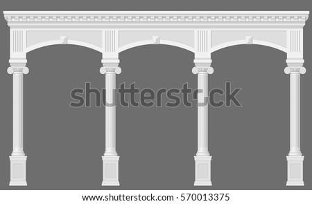 antique white arcade with ionic
