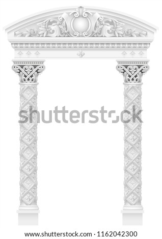 antique white colonnade with