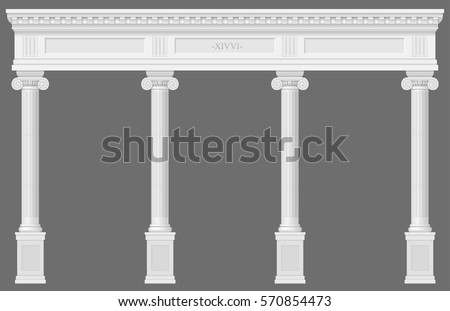 antique white colonnade with...