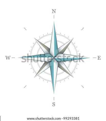 Antique wind rose symbol for navigation isolated on white background. Vector illustration EPS10. Transparent objects used for shadows and lights drawing. - stock vector