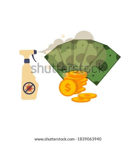 antiseptic sprayed on money