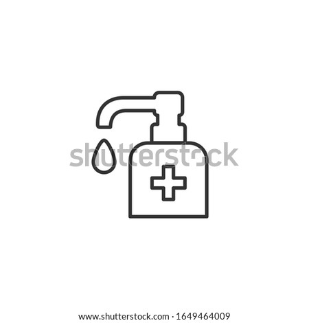 Antiseptic vector icon Hygiene Virus hand care. Black line, outline, thin sign. Washing hands, anti bacterial soap, use sanitary antiseptic. Flat design illustration