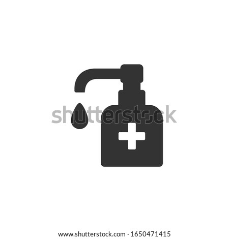 Antiseptic vector icon Hygiene Virus hand care. Black shape silhouette sign. Washing hands, anti bacterial soap, use sanitary antiseptic. Flat design illustration