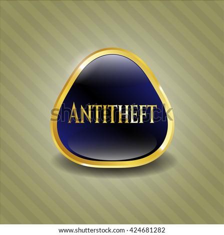 Antitheft gold shiny badge