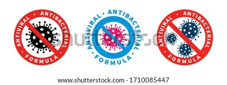 Antiviral and antibacterial formula vector icons. Coronavirus Covid 19 virus stop signs, health protection or hand sanitize labels