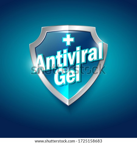 Antiviral gel logo. Sanitizer gel, antiseptic and virus protection label. Sanitizer for hands and body. Blue and silver glossy shield with letters.