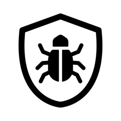 Antivirus protection / virus shield line art vector icon for apps and websites