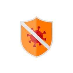 Antivirus shield orange color editable illustration vector .anti corona virus