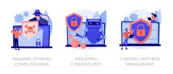 Antivirus software development. Malware, computer virus and spyware, industrial cybersecurity, cybersecurity risk management metaphors. Vector isolated concept metaphor illustrations
