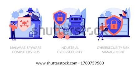 Antivirus software development. Malware, computer virus and spyware, industrial cybersecurity, cybersecurity risk management metaphors. Vector isolated concept metaphor illustrations Zdjęcia stock ©