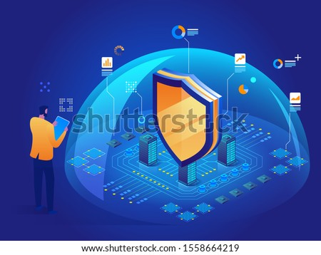 Antivirus software Isometric vector illustration of digital protection mechanism system privacy Cybersecurity malware security program Data secure Hacking web crime virus attack Symbol of protection