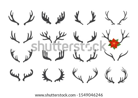 Antler vector set . Hand drawn silhouettes of hunting trophies illustration . Foto stock ©