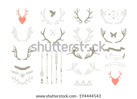 stock-vector-antlers-arrows-ribbons-decor-elements-isolated-vector