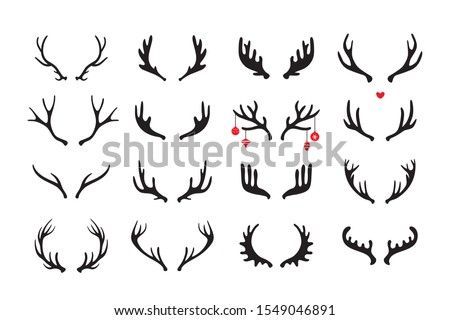 Antlers vector set . Hand drawn icons isolated on white Foto stock ©