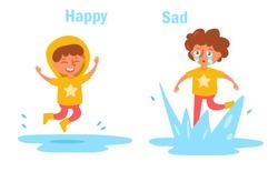 Antonym happy sad Vector. Cartoon. Isolated art on white background. Flat