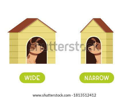 Antonyms concept, WIDE and NARROW. Educational flash card with doghouses of different thicknesses template. A puppy in a narrow and wide booth. Word card for english language learning with opposites.  Photo stock ©