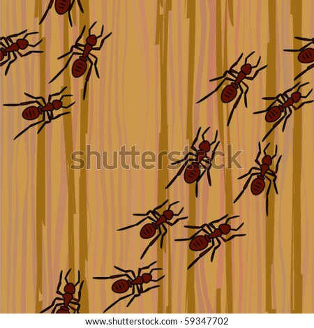 ants creep on a tree seamless background