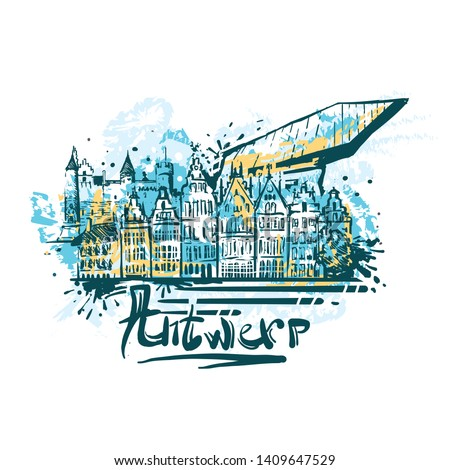 Antwerp abstract color drawing. Antwerp sketch vector illustration isolated on white background.