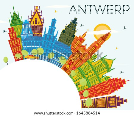 Antwerp Belgium City Skyline with Color Buildings, Blue Sky and Copy Space. Vector Illustration. Business Travel and Tourism Concept with Historic Architecture. Antwerp Cityscape with Landmarks.